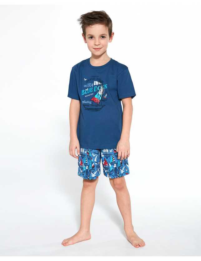 Piżama Cornette Young Boy 790/96 Blue Dock kr/r`134-164